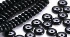 100 Jet Black Glass Rondelle Beads 6MM