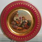 Superb Antique Royal Vienna Porcelain Crimson & Gold Plate w Flower Seller