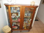 Antique Bow Front China/Collectables Curio Cabinet Curved Glass 1900-1940s Wood