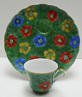 Coquille D'Or Georges Briard Plate Cup Set Lunch Snack Flowers Green Poppies
