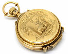 RARE!! 1882s VICTORIAN ILLINOIS WATCH CO SAGE HUNTING 14K GOLD POCKET WATCH