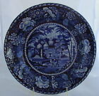 Antique Dark Blue Historical Staffordshire Hall&Sons Oriental Scenery Plate