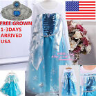 Xmas Gift Frozen Elsa dress Up Gown Costume Princess Queen Anna Fancy 7-8T/Y B1