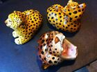 Fall Sale Handmade Real italian Leopard Panther Statues (Intrada?) Vintage Set 3