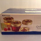 Vintage Case Ball Mason Quilted 4 oz Jelly Jars NOS Bands & Decorative Gold Lids