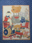 Toys red wagon express quilt 3 panel fabric nursery wall hanging bear train B R1