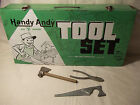 Green Metal Handy Andy Blue Diamond Tool Set Box and tools 1960s Skil-Craft