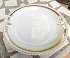 ANTIQUE PLATE WHITE GOLD TRIM SCALLOP RIM OPEN ENDS 9