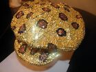 GLITTERING LEOPARD ANIMAL PRINT SEQUIN BRANDO HAT NEWSBOY CAP GOLD BRONZE BLACK