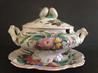 vtg Italian Hand Painted Floral Lidded Soup Tureen Platter Capodimonte Compote