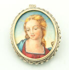 Estate Vintage 800 Silver Hand Painted Cameo Portrait Brooch Pin Pendant