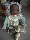 Beautiful Yolanda Bello Sitting Black Baby Girl Porcelain Cloth Girl  Doll 9