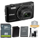 Nikon Coolpix S6800 Digital Camera BLACK 16mp 12x Zoom + 32GB Kit + XTRA BATT