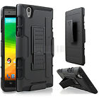 Rugged Hybrid Case Hard Cover Impact Stand Belt Clip Holster For ZTE Zmax Z970