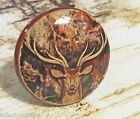 4 Cabin Decor Knobs, Handmade Deer Camo Handles, Distressed Wildlife Knob Decor