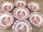 Woods Burslem England Pink Transfer Colonial Pattern  7 Rimmed Cereal Bowls