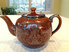 Vintage SUDLOW'S BURSLEM TEAPOT Brown Ceramic Glazed Silver Paint Overlay 32 oz