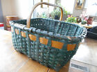 Antique Splint Gathering Basket-OLD GREEN YELLOW PAINT-Hand Carved Handle