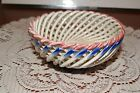 VINTAGE...VERY PRETTY....HAND PAINTED.....FLOWERED.....BASKET WEAVE BOWL