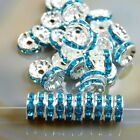100pcs Czech Crystal Rhinestone Silver Rondelle Spacer Beads 456810mm