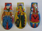 Set of 3 Old Vintage 1950's Toy CLICKERS Cowboy Cowgirl Indian WESTERN