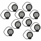 Round Light Bar Set of 10 4 Inch 27w 9 LED 60 Degree Flood SUV Truck 4WD Offroad