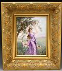 Antique French Limoges Porcelain Portrait Plaque Woman & Cherubs Picking Apples