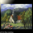 painting CHURCH forest ORIGINAL Quebec mountains Laurentians OIL TATIANA art