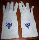 VINTAGE MASONIC WHITE COTTON DRESS GLOVES EMBROIDERED INSIGNIA