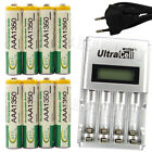 8 AAA 3A 1350mAh Ni-MH 1.2V Volt Rechargeable Battery EU LCD Charger Green BTY