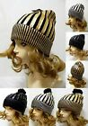 Winter Ski Shiny Glitter Hat Warm Metallic Striped Design Beanie Pom Pom Hip Hop
