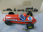 WIND-UP 520 TIN RACING CAR / RACER #8 MADE in WESTERN GERMANY in BOX