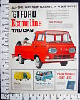 1961 FORD new Econoline van-nosed pickup truck Magazine Ad very cool 151