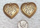 VINTAGE OPEN CUT WORK BRASS HEART STAMPINGS FINDINGS WITH RING 8 PCS CHARMS