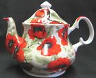 POPPY CHINTZ  FINE BONE CHINA TEAPOT, 40OZ MAKES 6 CUPS from HERITAGE OF ENGLAND