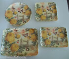 SET OF 8 YELLOW/GREEN MELAMINE PLATES FLORAL FLOWER FOR 2 PICNIC OUTDOOR PLASTIC