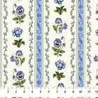 Blue Pansy Stripes Botanical Blues Northcott Quilt Fabric by the 1 2 yd 59 11