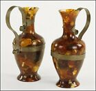 Antique Continental Amber Flower Bud Vase with 800 Silver Handle Set of Two