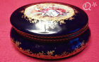Antique ITALY A.C.F. PORCELAIN Blue Sevres LIDDED Limoges Royal TRINKET BOX