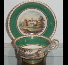 Early 19C Antique Coalport Green Porcelain Tea Cup & Saucer Scenic Country House