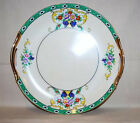 Noritake Cake Plate Two Gold Lustre Handles & Trim Deco Floral Cartouche Lovely!
