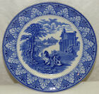 Old Antique Cauldon Flow Blue Ironstone Plate Chariot Greek Temple England