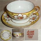 60yr Ardalt OCCUPIED JAPAN HAND PAINT Yellow & Floral wGOLD Cup+Saucer no damage