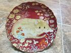 Gorgeous Deep Red 7 1/2 in Collector Plate, Cat Lying in Flowers with Butterfly