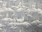 Snowy Scenic deer fabric 44x94 over 2 yd blue white wild buck doe hunt hunting B