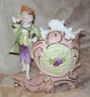 ANTIQUE VICTORIAN PORCELAIN SPILL VASE - YOUNG BOY IN PERIOD DRESS W/FLORALS