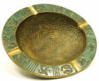 Vintage ASHTRAY Heavy-Solid HAMMERED BRASS Incised ZODIAC Motif