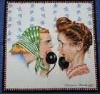 Saturday Evening Post Pillow Panel Fabric 17x17 Rockwell ladies gossip cotton n