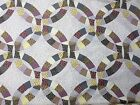 Cheater Quilt Panel double wedding ring fabric 90x90 2 1/2 yd dots plaid floral