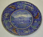 Antique Blue Historical Staffordshire England US White House Plate Washington DC